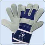 SCHWAN Handschuh aus Spaltleder Cygnosplit 14, grau/blau Gr. 10
